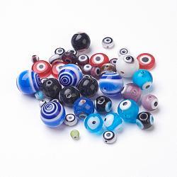 Main mal de perles au chalumeau des yeux, formes mixtes, taille mixte, percer ou non percé / pas de trou, couleur mixte, 4~12x3~3.5mm, Trou: 0.5~1.5mm(GLAA-E340-10)