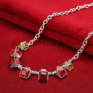Popular Red Cuboid Resin Rhinestone Bib Necklaces(NJEW-BB00466)-4