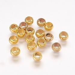 Perles européennes en plastique CCB, perles de rondelle avec grand trou , or, 6x4mm, Trou: 4mm(CCB-J028-68G)