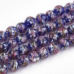 Perles vernissées de sable d'or manuelles , fleur intérieure, rond, bleu, 8~8.5x7~8mm, Trou: 1.5~2mm(X-LAMP-T006-10B)