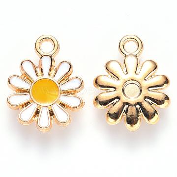 Alloy Enamel Charms, Flower, Light Gold, White, 14x12x2mm, Hole: 1.6mm(X-ENAM-S121-049)