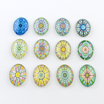 Mixed Style 25mm x 18mm 5 pcs Flower Printed Glass Oval Flatback Cabochons