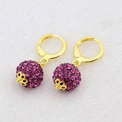 Pendantes rondes résine de balle boucles d'oreilles strass, avec boucles d'oreilles créoles en laiton doré, fuchsia, 30mm, pin: 1 mm(EJEW-J080-23G)