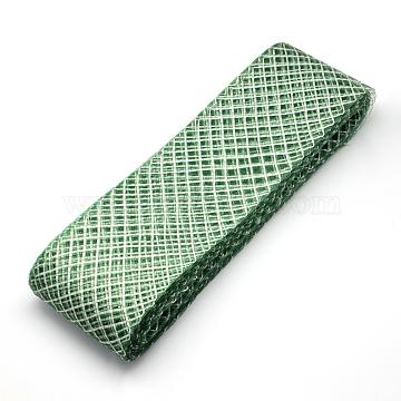 Mesh Ribbon, Plastic Net Thread Cord, Sea Green, 4.5cm; about 25yards/bundle(PNT-R007-4.5cm-13)