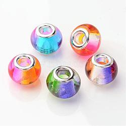 Pulvérisation de couleur mélangée peint deux rondelle de verre de ton grandes perles de trou européen, avec des noyaux de cuivre, 15x12mm, Trou: 5mm(X-GPDL-R003-M1)