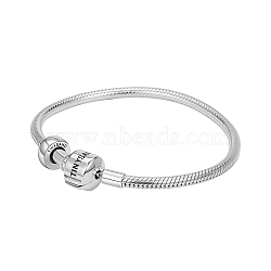 Tinysand® argent sterling tinysand bouchon bracelets européens, argenterie, 180mm; taille d'emballage: 11x11.4x2.3cm(TS-BS001-S-18)