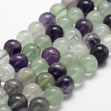 Natural Fluorite Bead Strands, Round, Grade AB, 8mm, Hole: 1mm, about 50pcs/strand, 14.9 inches~15.1  inches(X-G-D840-56-8mm-AB)