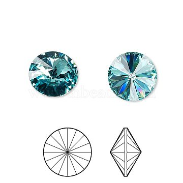 Austrian Crystal Rhinestone Cabochons, Crystal Passions, Foil Back, Faceted Rivoli, 1122, 263_Light Turquoise, 10.187~10.540mm(X-1122-SS47-F263)