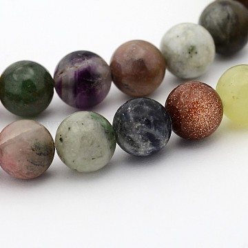 Natural & Synthetic Mixed Gemstone Beads Strands, Round, 6mm, Hole: 1mm; about 65pcs/strand, 15.7 inches(G-P070-26-6mm)