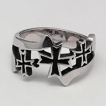 Personalized Retro 316 Surgical Stainless Steel Cross Rings for Men, Antique Silver, 17~23mm(RJEW-F006-116)