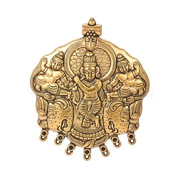 Tibetan Style Alloy Connector Rhinestone Settings, Chandelier Components Links, Buddha, Antique Golden, Fit For 2mm Rhinestone, 84x69x4~6.5mm, Hole: 1.4mm and 4.5mm(TIBEP-F072-15AG)