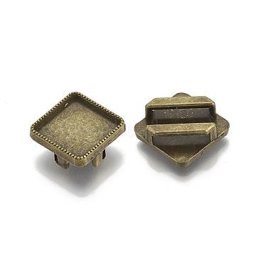Tibetan Style Alloy Slide Charms Cabochon Settings, Cadmium Free & Nickel Free & Lead Free, Rhombus, Antique Bronze, Tray: 12mm; 18.5x18.5x5.5mm, Hole: 11x2.5mm; side length: 14mm; about 590pcs/1000g(TIBE-S317-04B-FF)