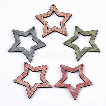 Printed Wood Pendants, Laser Cut Wood Shape, Star, Mixed Color, 47.5x50.5x4mm, Hole: 1.8mm(X-WOOD-S667-014A)