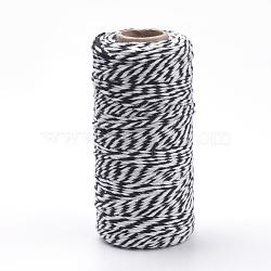 Cordons de coton, noir, 1.5~2 mm; environ 100 mètres / rouleau(YC-R007-20)
