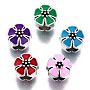 Mixed Color Flower Alloy+Enamel European Beads(MPDL-T005-006-RS)