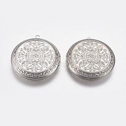 Pendentifs médaillon en 304 acier inoxydable, plat et circulaire avec fleur, couleur inoxydable, 45x49x10mm, trou: mm 2; 30 mm de diamètre intérieur(STAS-P225-059P)