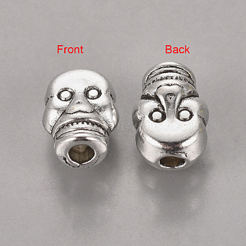 Antique Silver Halloween Jewelry Findings Tibetan Silver Alloy Skull Beads, Lead Free & Nickel Free & Cadmium Free, about 6.5mm wide, 9mm long, Hole: 2mm(X-AB321-NF)