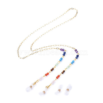 Chakra Jewelry, Eyeglasses Chains, Neck Strap for Eyeglasses, with Natural Gemstone Beads, 304 Stainless Steel Lobster Claw Clasps, Brass Paperclip Chains and Rubber Loop Ends, Golden, 29.92 inches(76cm)(AJEW-EH00035)
