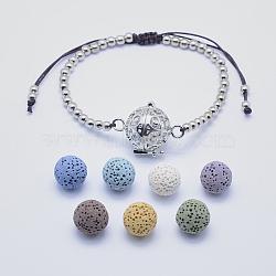 """Bracelets de perles tressées en laiton, avec une couleur aléatoire sans perles de billes de lave de trou, platine, 2-1/4"""" (58 mm)(BJEW-L621-01P)"""