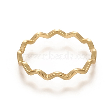 925 Sterling Silver Wavy Rings, Carved 925, Golden, Size 8, 18mm, 2.2mm(STER-D033-03B-G)