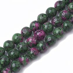 rubis synthétique en brins de perles de zoisite, teints, arrondir, 8 mm, trou: 1 mm; environ 50 perle / brin, 15.7(G-S281-52-8mm)
