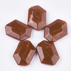 perles acryliques, style de pierres précieuses imitation, facettes, polygone, Sienna, 33x48x13 mm, trou: 2.5 mm(OACR-T011-165C)