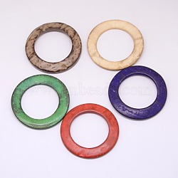 Dyed Wood Jewelry Findings Coconut Linking Rings, Mixed Color, 38x2~5mm(X-COCO-O006A-M)