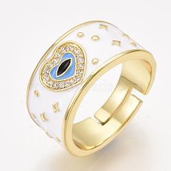 регулируемые латунные кольца из микро-паве циркония, с эмалью, сердце, белый, Размер 8, 18 mm(RJEW-S044-061C)