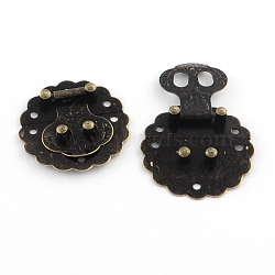 Wooden Box Lock Catch Clasps, Antique Bronze, 40x8mm, Hole: 2.5mm(IFIN-R203-46AB)