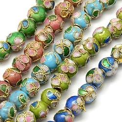 """Motif fleur à la main millésime cloisonné chapelets de perles rondes, couleur mixte, 6mm, trou: 1 mm; environ 13.2"""", 66 pcs / chapelet(CLB-O001-M06)"""