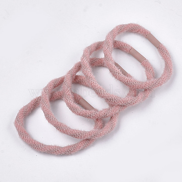 Imitation Wool Girls Hair Accessories, Ponytail Holder, Elastic Hair Ties, with Plastic, Pink, 45~48mm(OHAR-S190-15A)