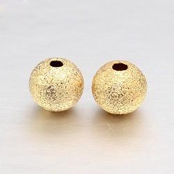 Vraies perles rondes texturées en laiton plaqué or 18k, sans plomb et sans cadmium et sans nickel, 4mm, Trou: 1mm(X-KK-L147-191-4mm-NR)
