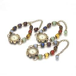 Alliage de style tibétain bracelets de montres en pierre mixte, avec des chaînes de fer et d'alliage de zinc homard fermoirs griffe, bronze antique, 180mm(BJEW-JB01754)