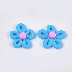 Cabochons en pâte polymère manuels, fleur, bleu foncé, 27~28x26~28x10~11mm(CLAY-S091-33C)