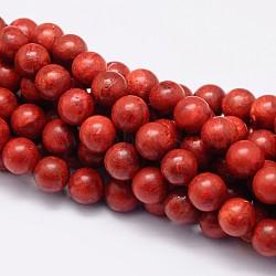 "Herbe synthétique perles rondes corail brins, teint, 6mm, trou: 1mm; environ 66 pcs/chapelet, 15.7""(CORA-E029-6mm-01)"