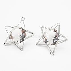 Pendentifs en fer, avec verre strass, étoiles, platine, 47.5x43x17mm, Trou: 4.5mm(IFIN-P010-02P)