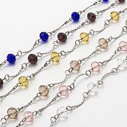 chaînes de perles de verre rondelles facettées faites main pour colliers fabrication de bracelets, avec maillons en laiton et épingle à oeil en fer, non soudée, couleur mélangée, 39.3; à propos de 31 ensembles / brin(AJEW-JB00087)