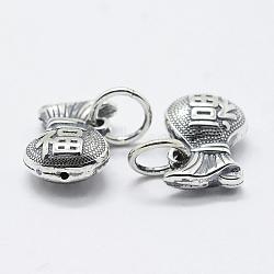 thai pendentifs en argent sterling, pendentifs grand trou, sac avec mot, argent antique, 13x9.5x5 mm, trou: 4.5 mm(STER-K171-07AS)