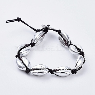 Electroplated Cowrie Shell Bead Bracelets, with Cowhide Leather Cord and 304 Stainless Steel Buttons, Platinum, 7-5/8 inches(19.5cm)(BJEW-JB04275-02)