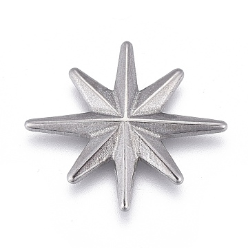 304 Stainless Steel Cabochon, North Star, Stainless Steel Color, 18x16x2mm(STAS-P245-08P)