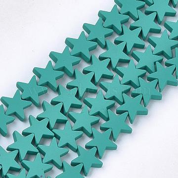 brins de perles d'hématite synthétiques non magnétiques peints par pulvérisation, étoiles, lightseagreen, 8x8x2.5 mm, trou: 0.8 mm; environ 64 perle / brin, 15.5(X-G-T116-21-04)