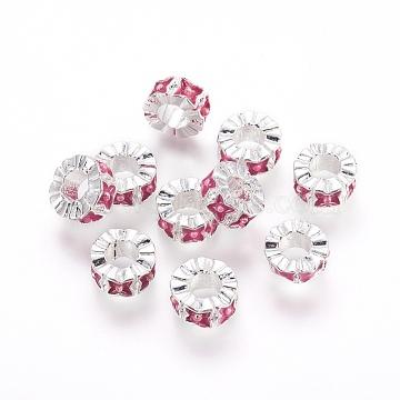 10mm PaleVioletRed Flat Round Alloy+Enamel Beads