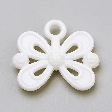 Opaque Acrylic Pendants, Bowknot, White, 20x23x5mm, Hole: 3mm(X-SACR-Q190-45O)