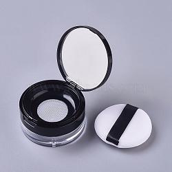 Reusable Plastic Loose Powder Bottles, Empty Bottles, DIY Makeup Powder Case, with Sponge Powder Puff, Mirror and Sifter, Black, 6.95x3.82cm; Capacity: 20g(MRMJ-WH0056-34D)