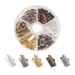 Embout ruban en fer, couleur mixte, 7x13mm, Trou: 2mm(IFIN-JP0007-02)