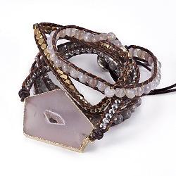5 -loops bracelets wrap de cordon en cuir, de billes de verre, agate, carte pierre / picasso pierre / picasso jasper, druzy agate, résultats d'hématite et d'alliage synthétiques, 37.4 38.6 cm), (95~98 mm; Pendentif: 7~10 mm(BJEW-I276-01C)