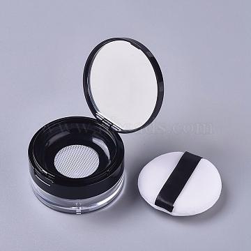 Reusable Plastic Loose Powder Bottles, Empty Bottles, DIY Makeup Powder Case, with Sponge Powder Puff, Mirror and Sifter, Black, 6.95x3.82cm, Capacity: 20g(MRMJ-WH0056-34D)