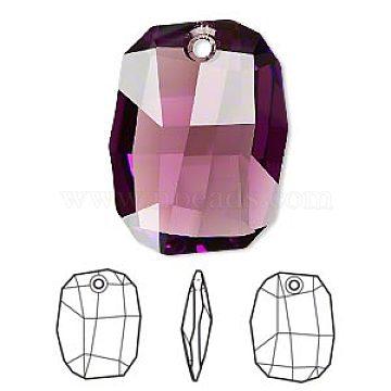 Austrian Crystal Rhinestone Pendants, Faceted Graphic 6685, Crystal Passions, 204_Amethyst, 19x13x6mm, Hole: 1mm(6685-19mm-204(U))