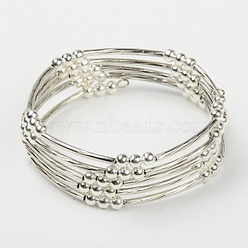 Memory Wire Bracelets, with Brass Tube Beads and Iron Spacer Beads, Silver Color Plated, 55mm(BJEW-JB00251)