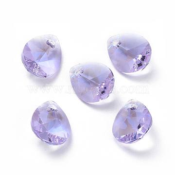 Glass Rhinestone Charms, Faceted, Teardrop, Violet, 10x8x4.5mm, Hole: 1.2mm(X-RGLA-L021-A-371MO)